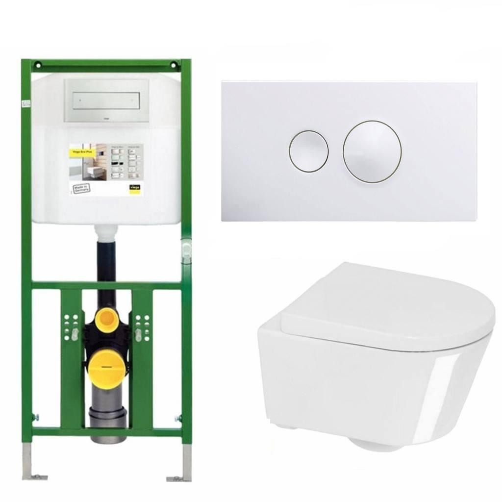 Viega Ecoplus Toiletset 34 Calitri Urby Compact 48 cm Met Bril En Drukplaat - Visign For Style 10 -