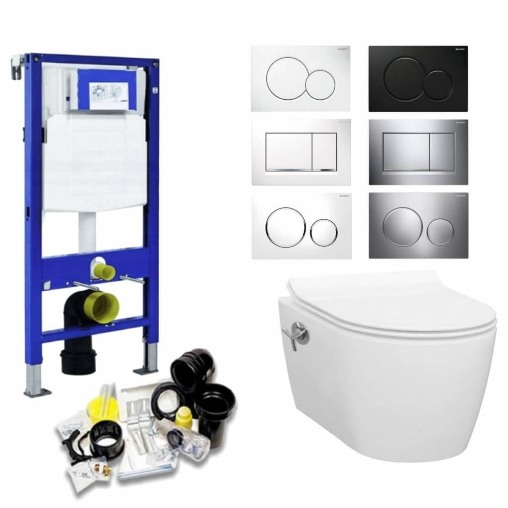 Productafbeelding van Geberit UP320 Toiletset 13 Idevit Alfa Matzwart Rimfree Met Bril En Drukplaat