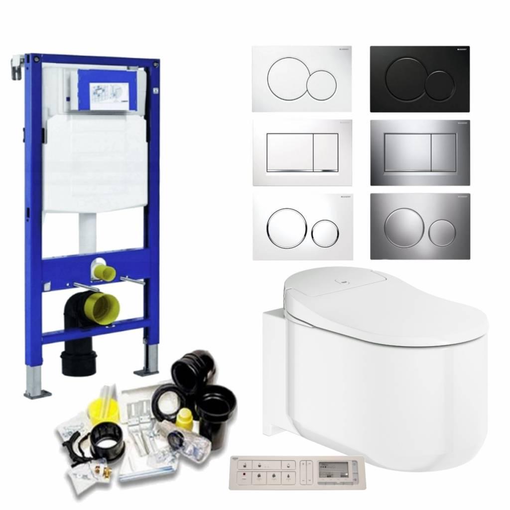 Productafbeelding van Geberit UP320 Toiletset 44 Grohe Sensia Complete Douchewc Met Drukplaat - Toiletset 44 - Sigma 01 Wit