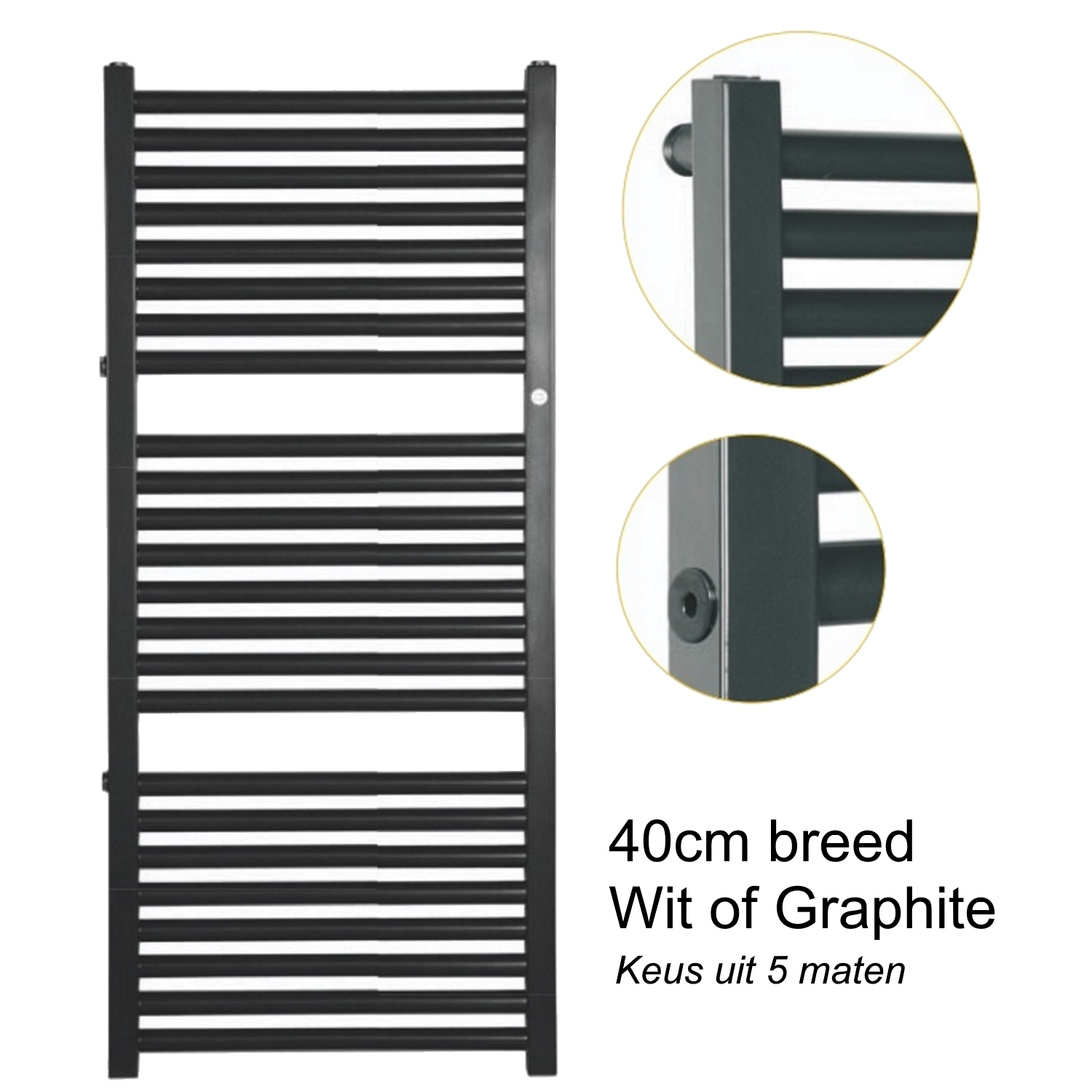 Radiator 40 Breed.Handdoekradiator Ip York Wit Of Graphite 40cm Breed In 5