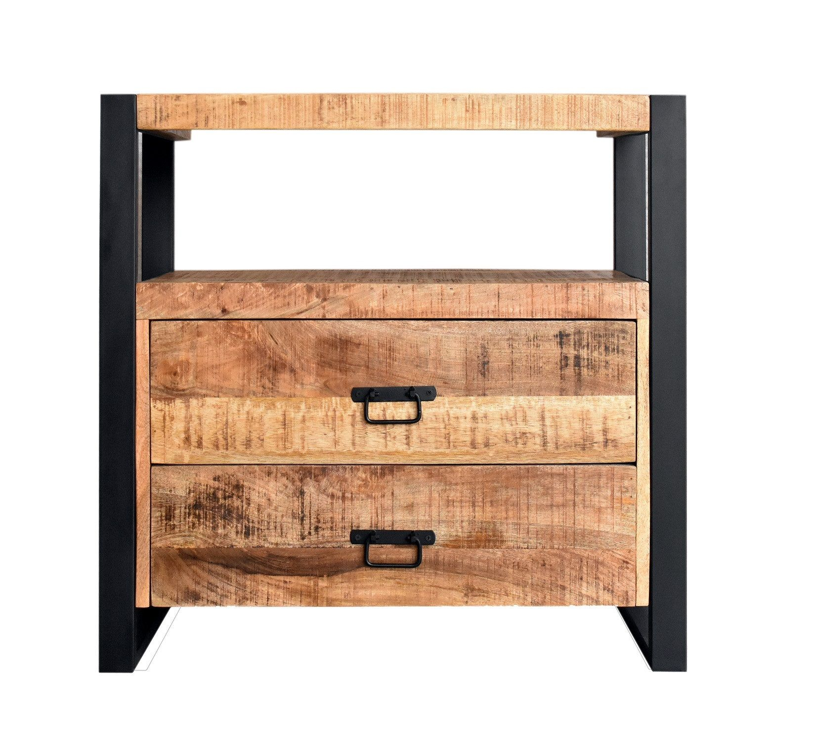 Onderkast Boss & Wessing Mango Wood 80x45x81cm Met Mat Zwart Metaal kopen - Tegel Depot sanitair met korting