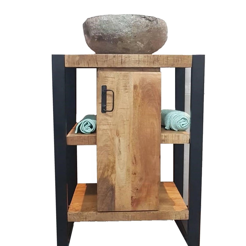 Onderkast Boss & Wessing Mineola Mango Wood 60x45x81cm Met Mat Zwart Metaal kopen - Tegel Depot sanitair met korting