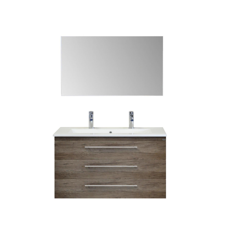 Badkamermeubelset Sanicare Q15 3 Laden Schots-Eiken (spiegel optioneel)