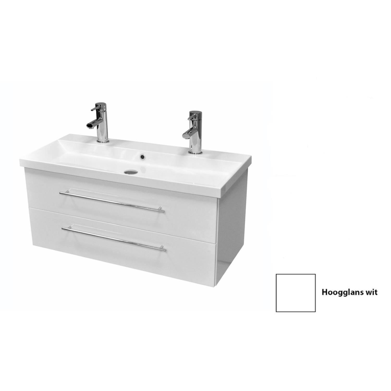 Badkamermeubelset Sanicare Q4 2.0 Twee Soft-Close Laden 100x45 cm Hoogglans Wit (1 of 2 Kraangaten) kopen - Tegel Depot sanitair met korting