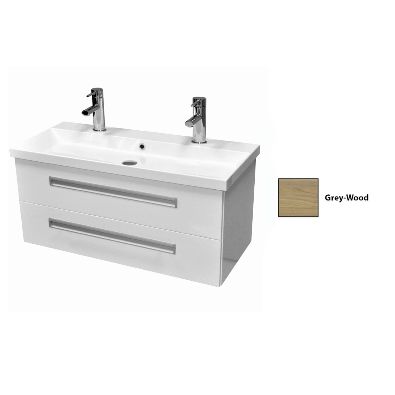 Badkamermeubelset Sanicare Q8 2.0 Twee Soft-Close Laden 100x45 cm Grey-Wood (1 of 2 Kraangaten) voordeel