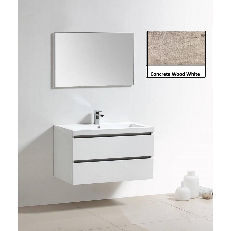 Badkamermeubels Wastafelmeubels kopen? Badkamermeubelset Sanilux Trendline 100x47x50 cm 0 Kraangaten Concrete Wood White met korting