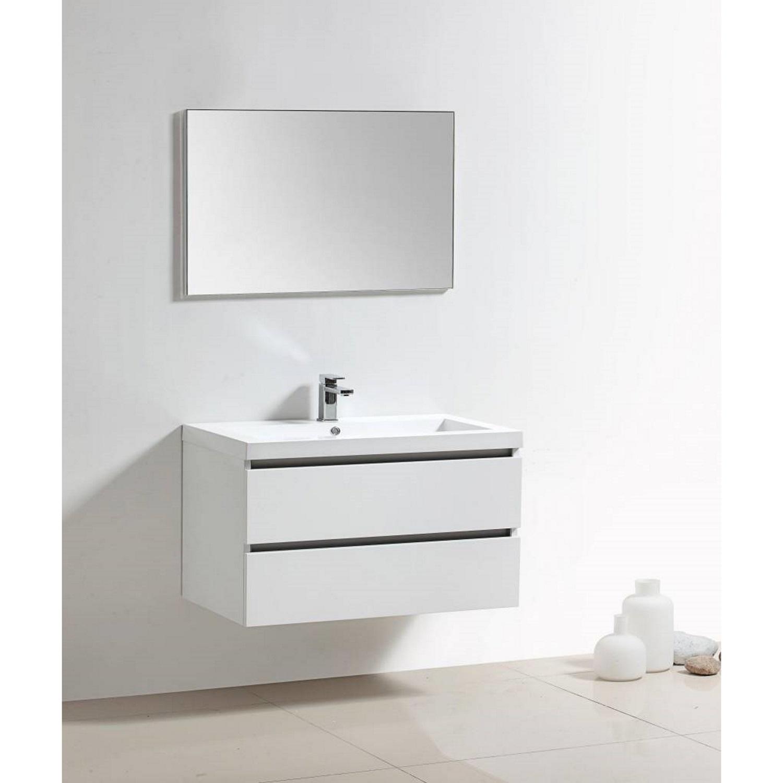 Badkamermeubels Wastafelmeubels kopen? Badkamermeubelset Sanilux Trendline 100x47x50 cm 2 Kraangaten (in 18 kleuren verkrijgbaar) met korting