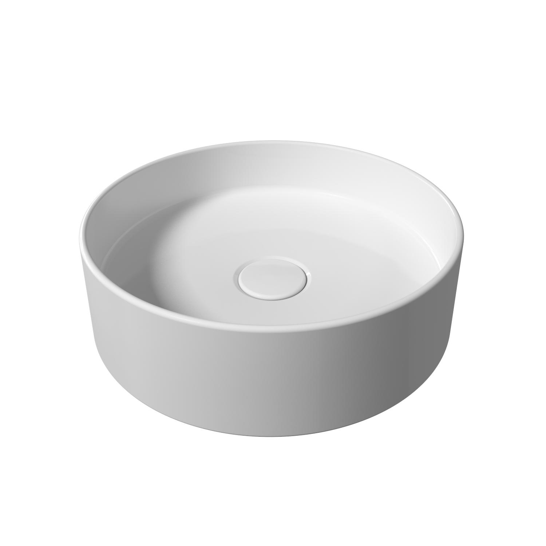 Opbouw Wastafel Salenzi Hide Circle 40x12 cm Mat Wit (inclusief bijpassende afvoerplug) met voordeel aanschaffen