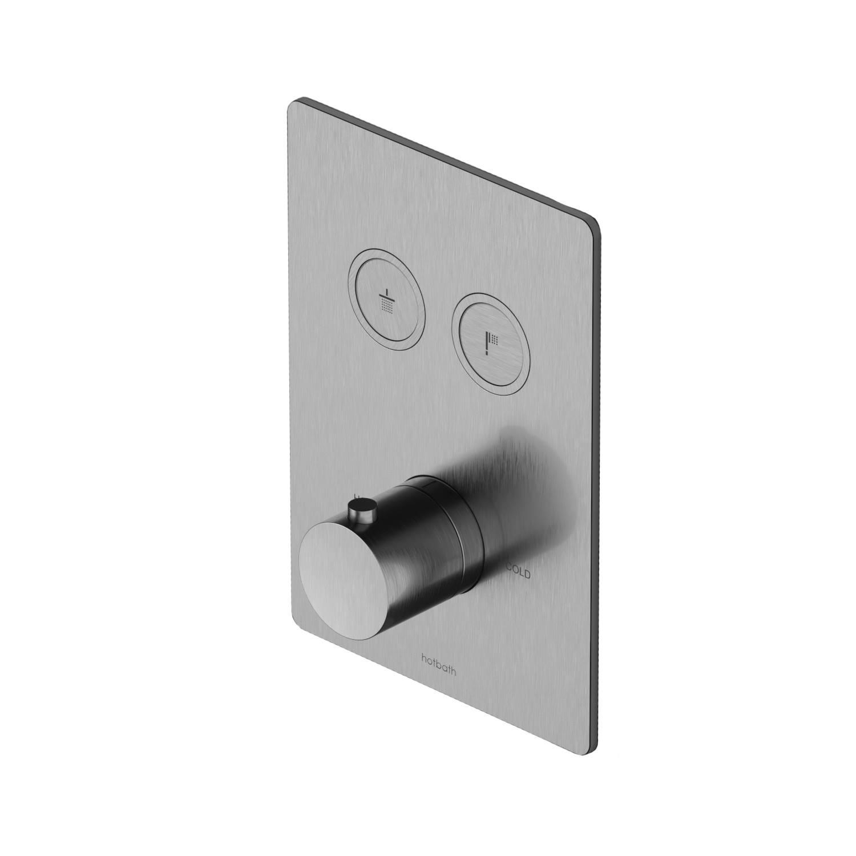 Inbouwdouchekraan Thermostatisch Hotbath Cobber met Pushbuttons Vierkant Chroom voordeel