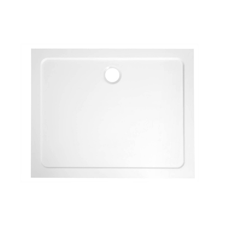 Douchebak Gegoten Marmer Sapho Aqualine 100x80x3 cm Rechthoek Wit