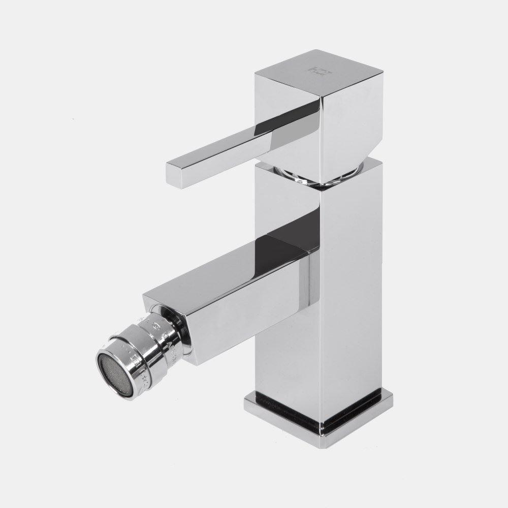 Bidetmengkraan Hotbath Bloke 1-hendel 16 cm Geborsteld Nikkel