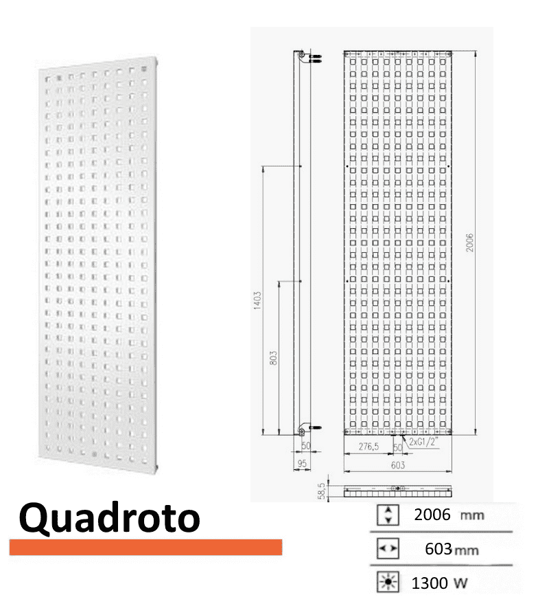 Designradiator Boss & Wessing Quadroto 2006 x 603 mm