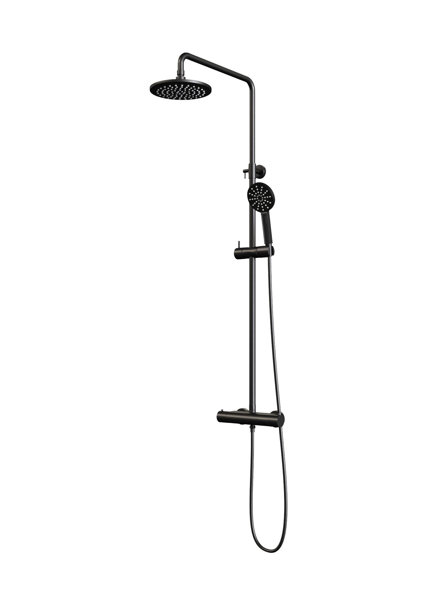 Regendouche Brauer Black Showerpipe met Thermostaat 20cm 3 Standen Mat Zwart