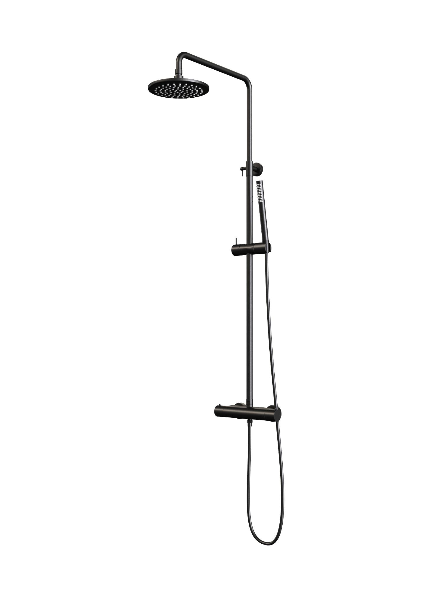 Regendouche Brauer Black Showerpipe met Thermostaat 20cm Mat Zwart