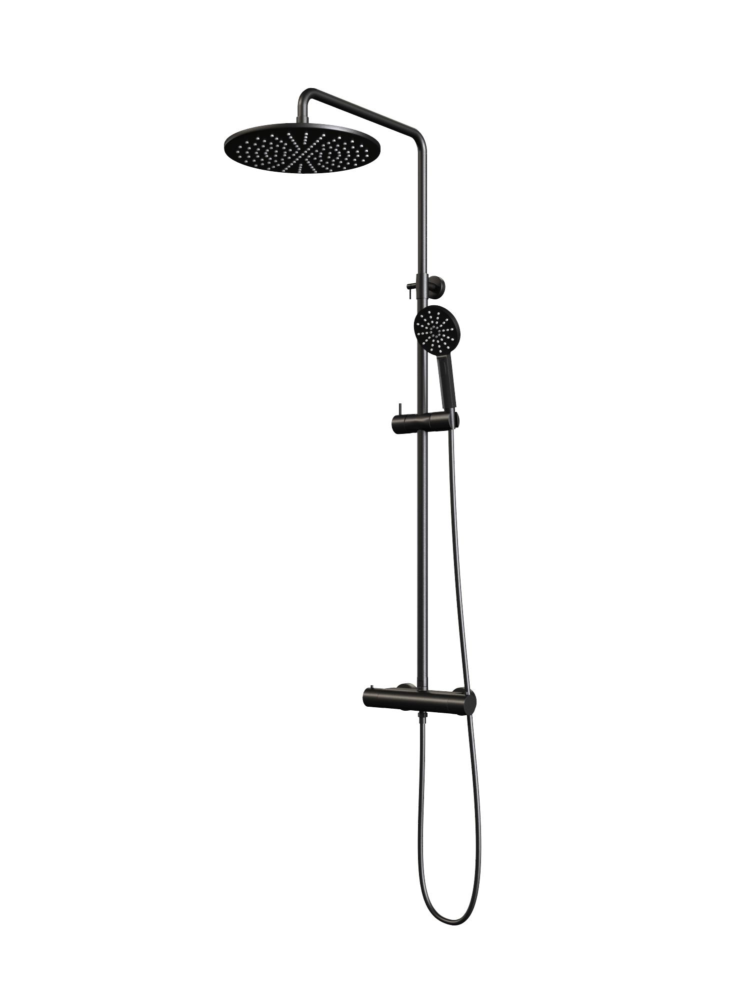 Regendouche Brauer Black Showerpipe met Thermostaat 30cm 3 Standen Mat Zwart