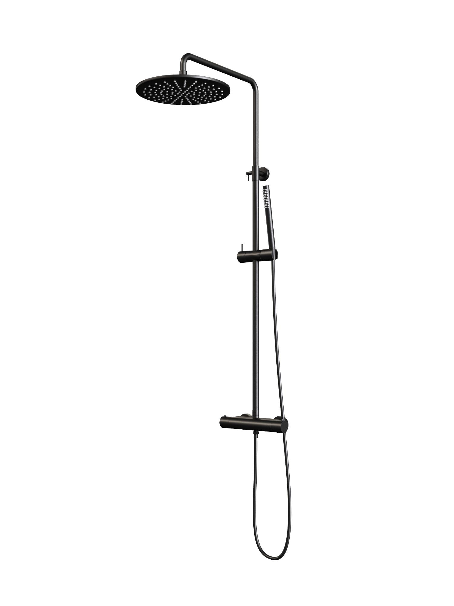 Regendouche Brauer Black Showerpipe met Thermostaat 30cm Mat Zwart Kranen > Regendouche > Opbouw Regendouche snel en voordelig in huis