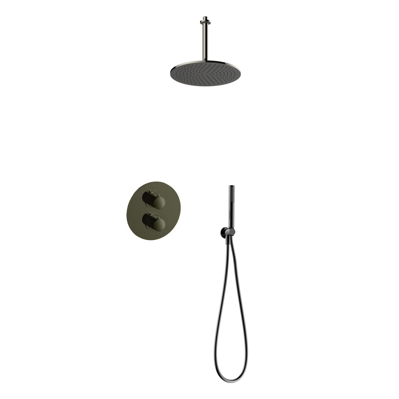 Regendoucheset Inbouw Salenzi Giro R Plafond Uitloop Gegalvaniseerd Messing Zwart Chroom 30 cm