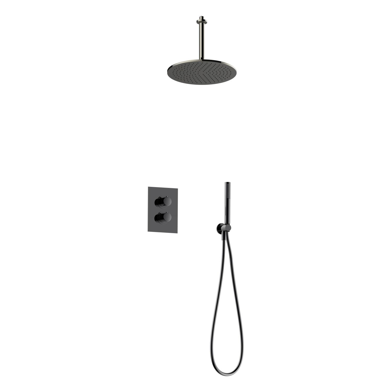 Regendoucheset Inbouw Salenzi Giro S Plafond Uitloop Gegalvaniseerd Messing Zwart Chroom 30 cm