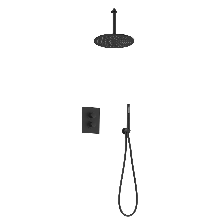 Regendoucheset Inbouw Salenzi Giro S Plafond Uitloop Gepoedercoat Messing Mat Zwart 30 cm
