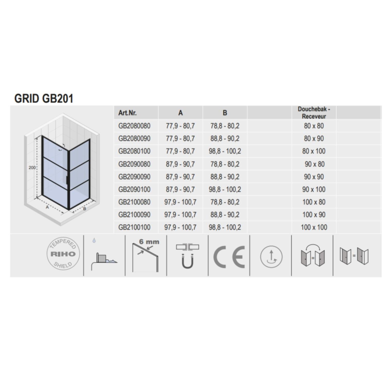 Douchecabine 100 X 90.Douchecabine Riho Grid Met Klapdeur 100x90 Cm 6mm Helderglas Zwarte Profielen