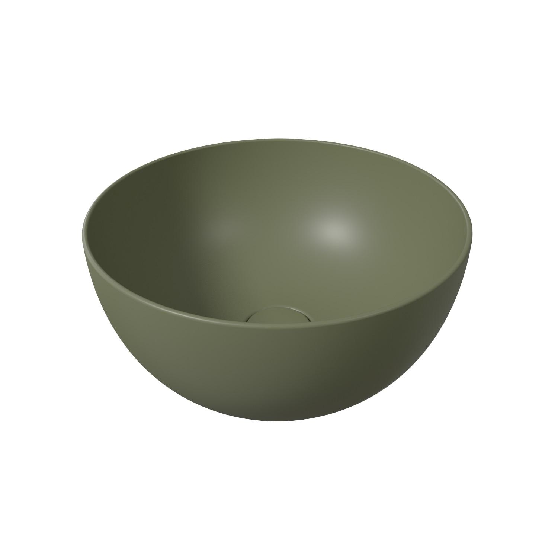 Ronde Wastafel Opbouw Salenzi Unica Round 40x20 cm Mat Legergroen (inclusief bijpassende afvoerplug) met voordeel aanschaffen