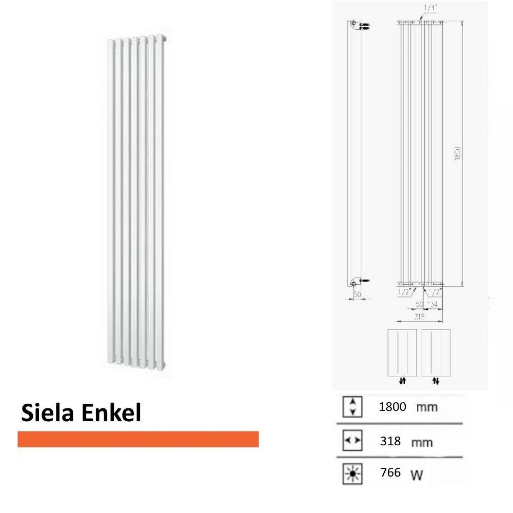 Handdoekradiator Boss & Wessing Siela Enkel 1800 x 318 mm
