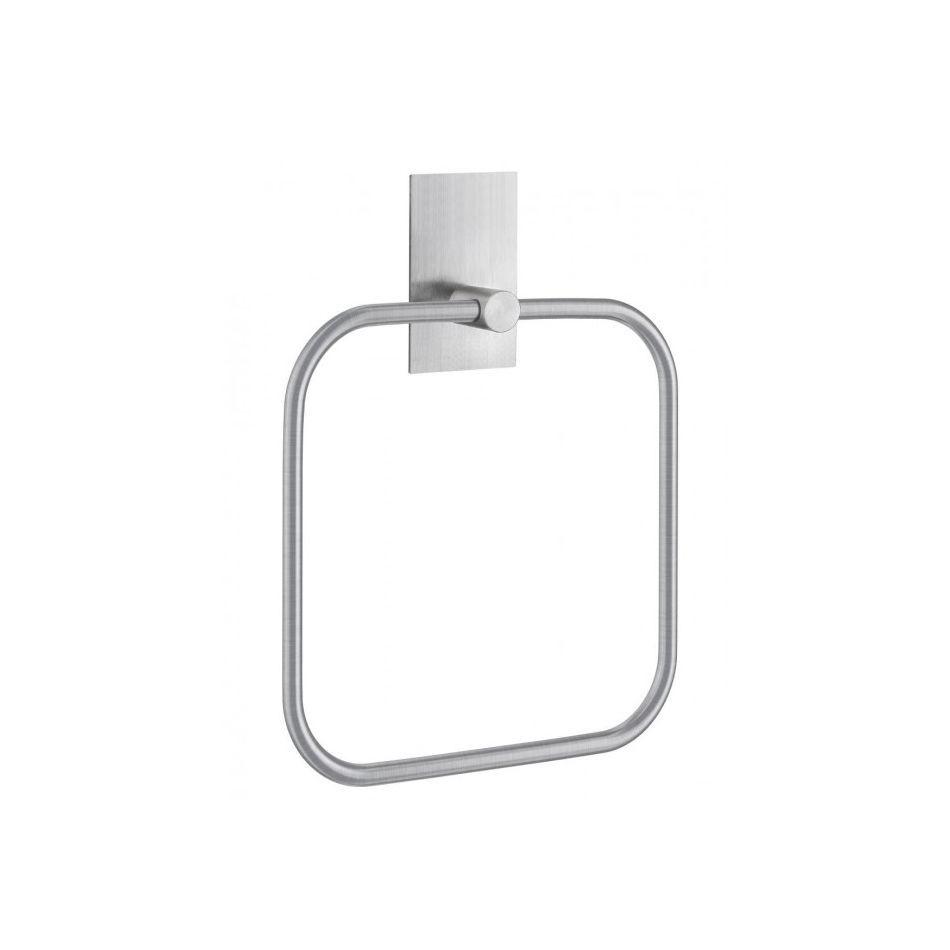 Smedbo Handdoekring 16.8x16.8 cm Vierkant Geborsteld Edelstaal Zilver
