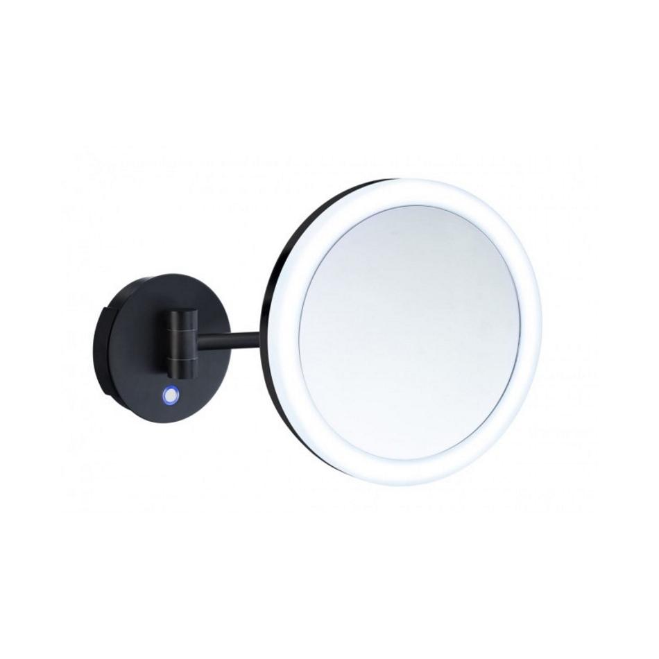 Smedbo Vergrootspiegel Draaibaar Met Dual LED Diamater 20 cm Messing En Acrylglas Zwart