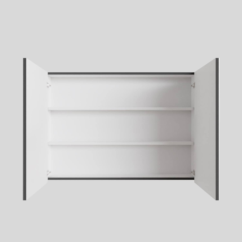 Spiegelkast Boss & Wessing Cube 100x70x16 cm 2 Deuren Antraciet met Mat Wit
