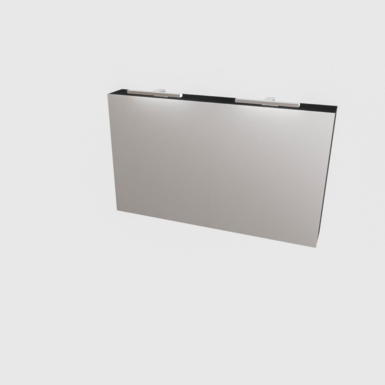 Spiegelkast Boss & Wessing Cube 120x70x16 cm Mat Zwart Urban (2 deuren)