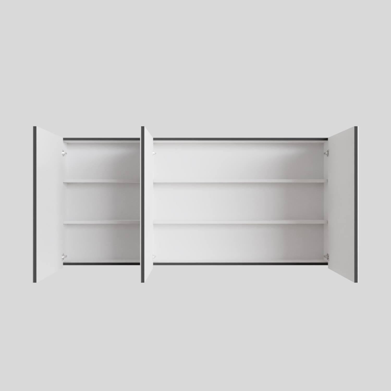 Spiegelkast Boss & Wessing Cube 150x70x16 cm 3 Deuren Antraciet met Mat Wit Boss & Wessing Gratis bezorgd