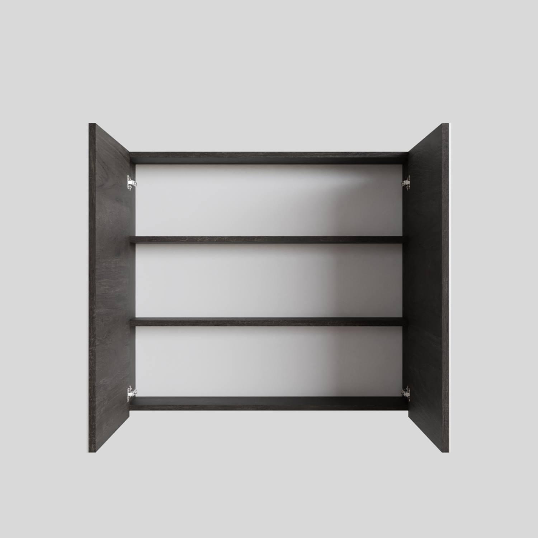 Spiegelkast Boss & Wessing Cube 80x70x16 cm 2 Deuren Donkerbruin voordeel
