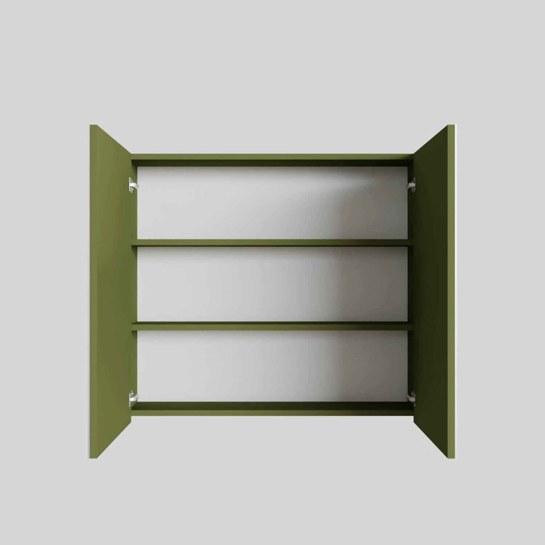 Spiegelkast Boss & Wessing Cube 80x70x16 cm 2 Deuren Groen