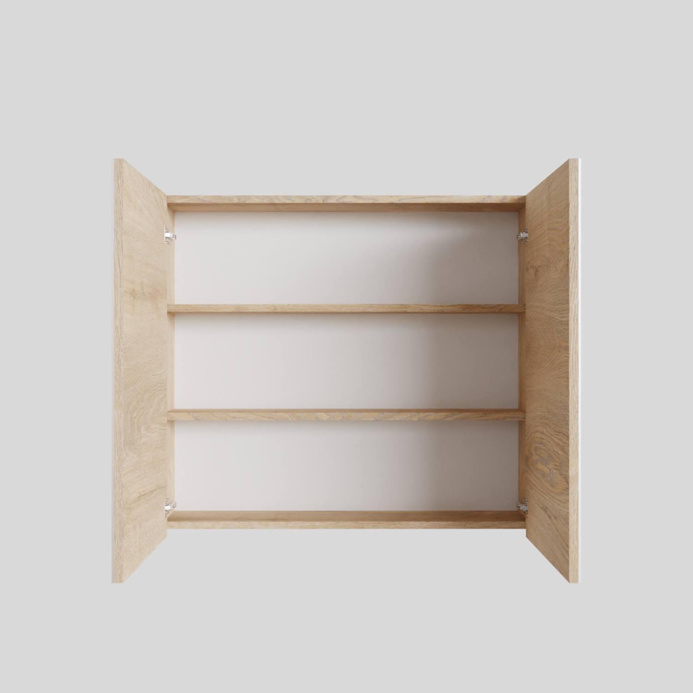 Spiegelkast Boss & Wessing Cube 80x70x16 cm 2 Deuren Washed Oak