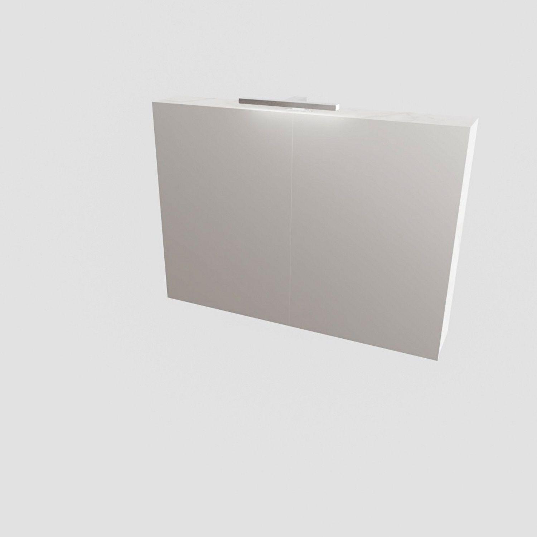 Spiegelkast BWS Valencia 100x70x16 cm met Twee Deuren Carrara Mat Boss & Wessing Gratis bezorgd