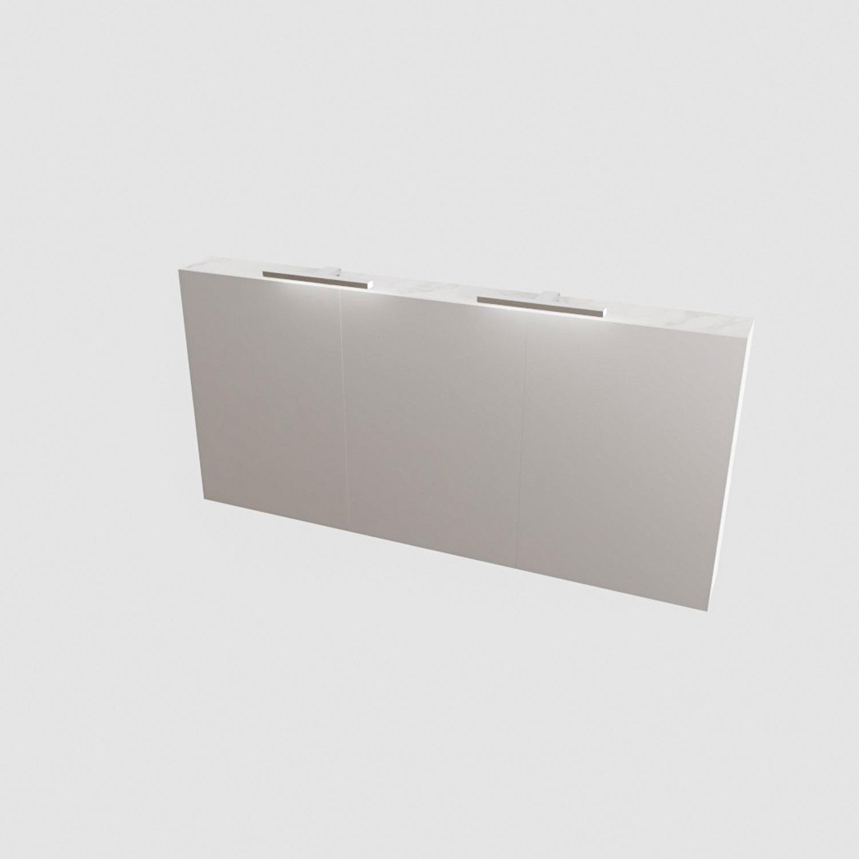 Spiegelkast BWS Valencia 150x70x16 cm met Twee Deuren Carrara Mat Boss & Wessing Gratis bezorgd
