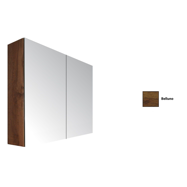 Spiegelkast Sanicare Qlassics 90 cm 2 Spiegeldeuren Belluno Eiken