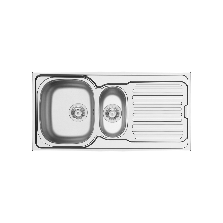 Spoelbak Uitstortgootsteen Van Marcke Hypero 1.5B 100x50cm RVS kopen - Tegel Depot sanitair met korting
