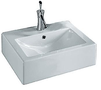 Sanitair-producten 5621 Keramische OpbouwWastafel Scarabeo Square 50x45cm wit