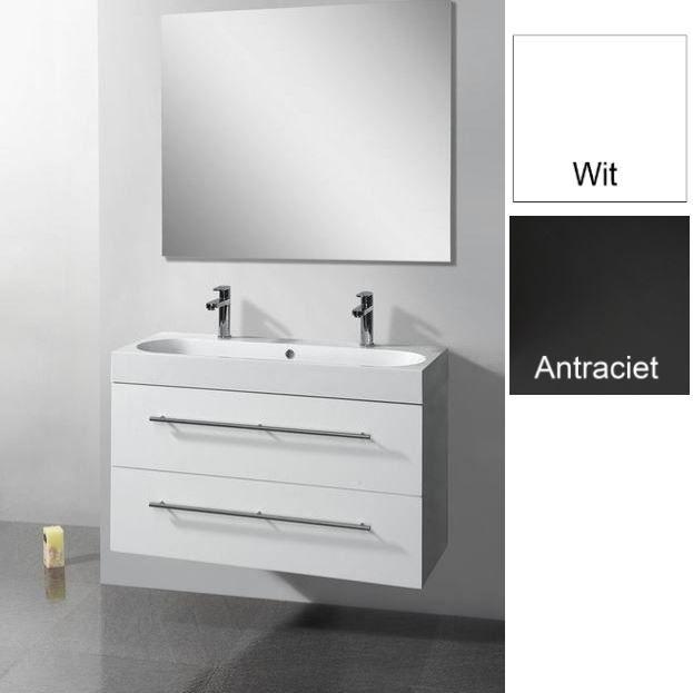 Badkamermeubels Wastafelonderkast kopen? Badkamermeubelset Sanilux Compactline 100x38x50 cm 1 of 2 Kraangaten (in twee kleuren leverbaar) met korting