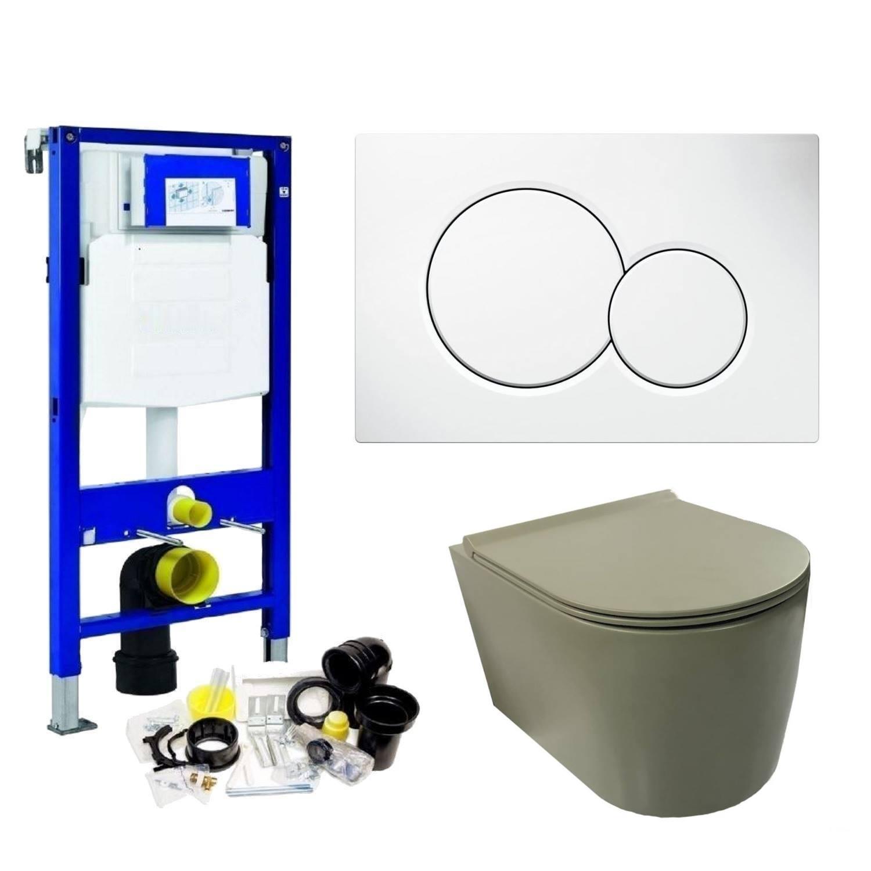 Geberit UP320 Toiletset set49 Civita Rimless Mat Legergroen Met Sigma Drukplaat Toilet Toiletset