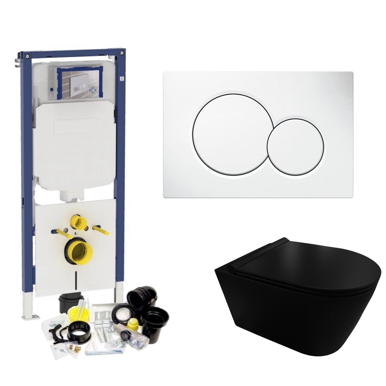 Geberit Sigma 8 (UP720) Toiletset set44 Civita Black Rimless Mat Zwart Met Sigma Drukplaat Toilet Toiletset