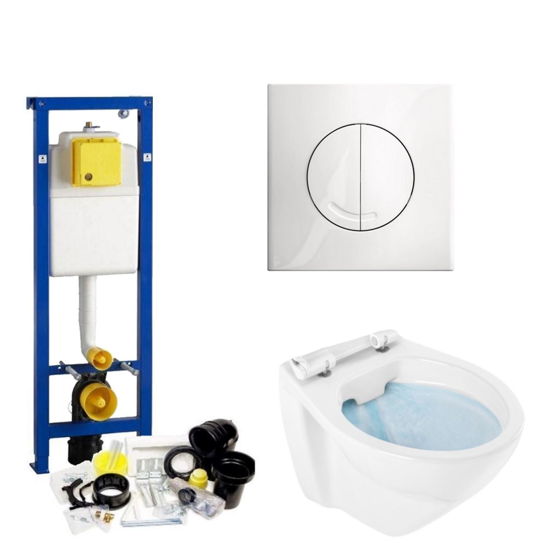 Toilet Toiletset kopen? Wisa XS Toiletset set01 Design Randloos met Argos of Delos drukplaat met korting