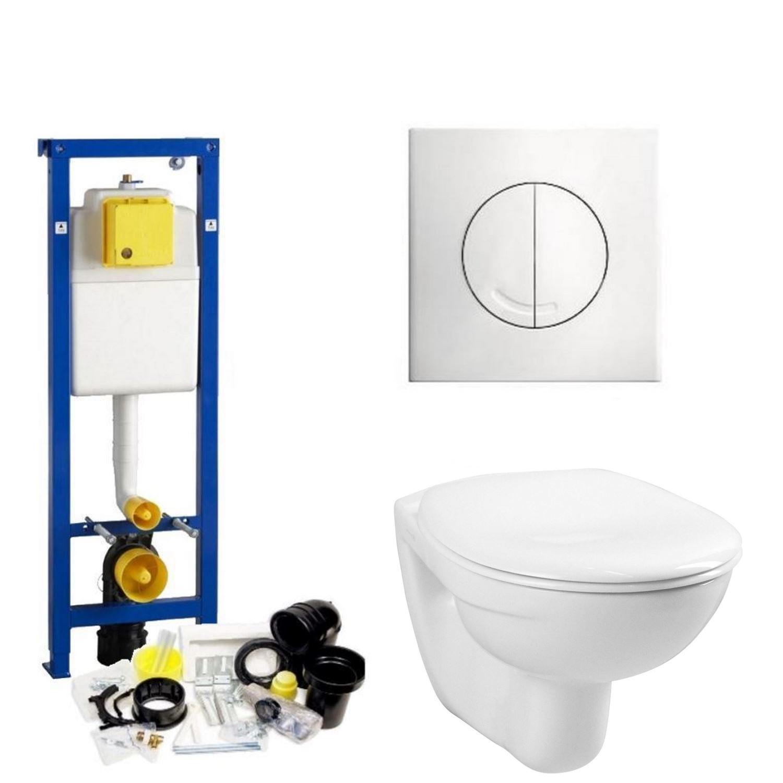 Toilet Toiletset kopen? Wisa XS Toiletset set01 Boss & Wessing Basic Smart met Argos of Delos drukplaat met korting