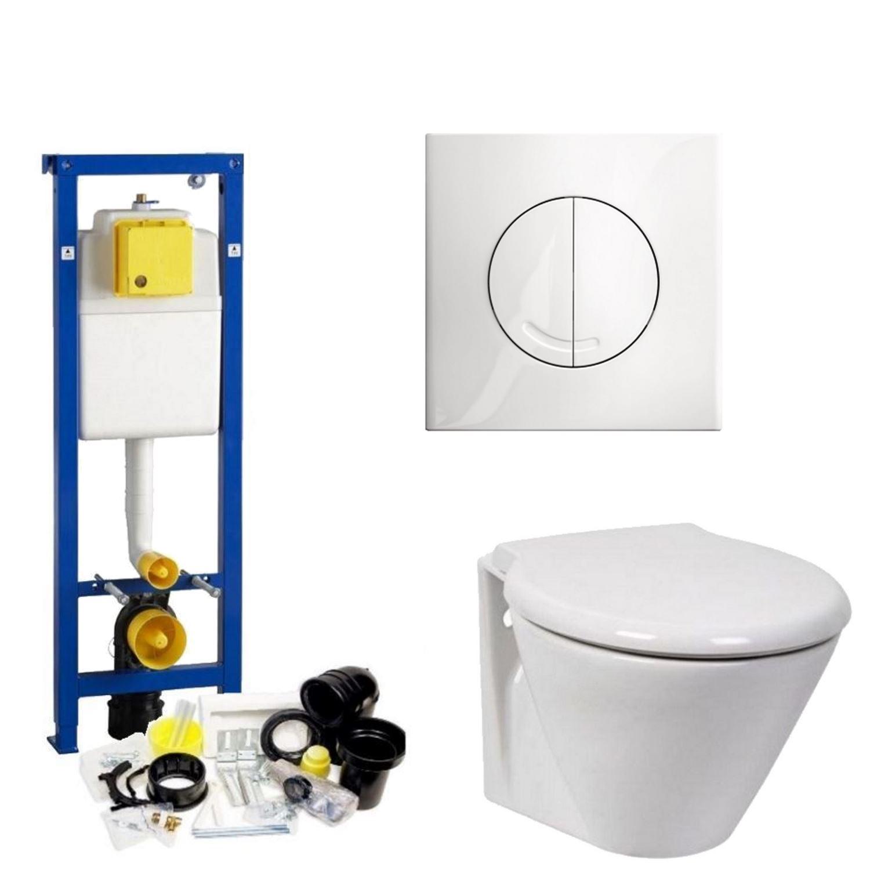 Toilet Toiletset kopen? Wisa XS Toiletset set06 Laufen Royal Design Diepspoel met Argos of Delos drukplaat met korting