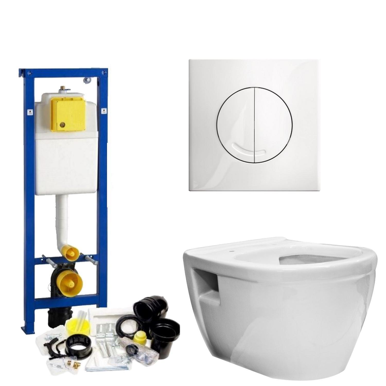 Toilet Toiletset kopen? Wisa XS Toiletset set07 Wiesbaden Prio Randloos met Argos of Delos drukplaat met korting
