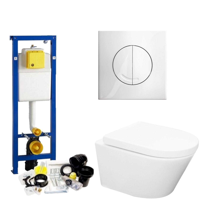 Toilet Toiletset kopen? Wisa XS Toiletset set24 Wiesbaden Vesta Rimless 52 cm met Argos of Delos drukplaat met korting