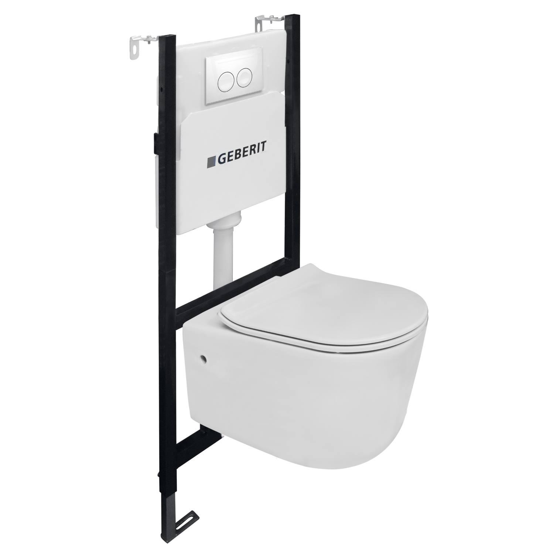 Toiletset Van Marcke Combo Up Pureflow Rimless Hang Wit voordeel