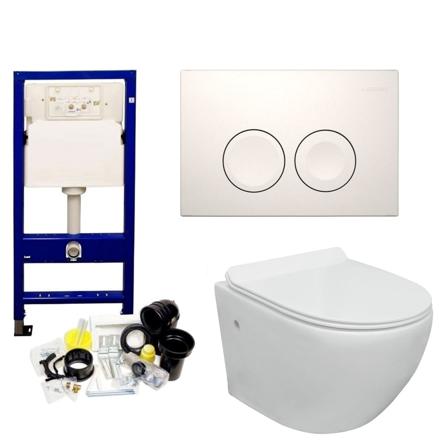 Geberit UP100 Toiletset set29 VM Go Aquaflow Randloos met Delta drukplaat Toilet Toiletset