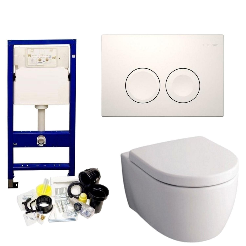 Geberit UP100 Toiletset set32 Sphinx serie 345 Randloos 6 ltr met Delta drukplaat Toilet Toiletset
